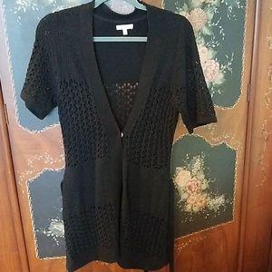 Black long belted cardigan s